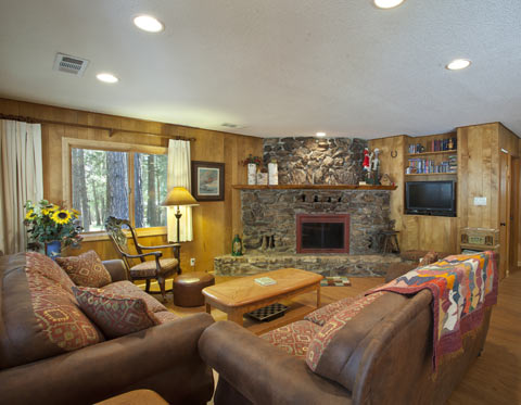 Yosemite Cabin Living Room and Stone Fireplace